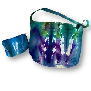 Tie dyed cross body reusable tote and makeup bag